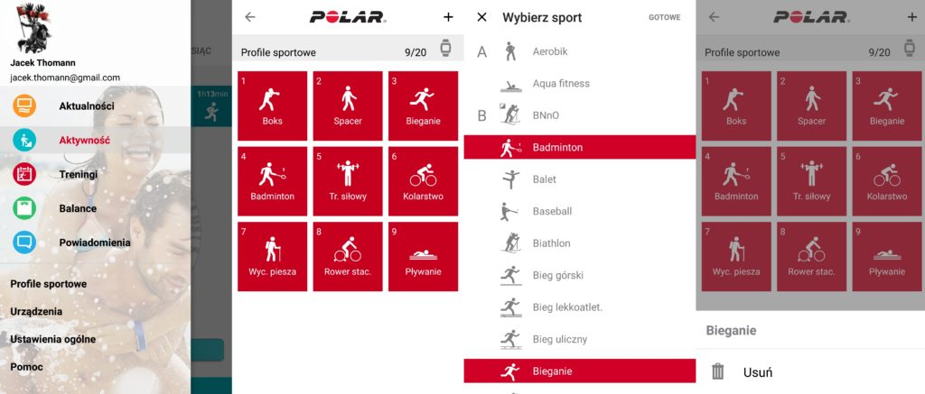 Polar Flow - profile sportowe